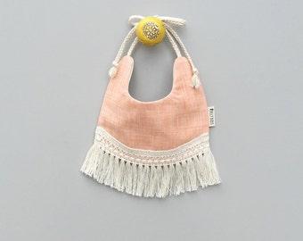 Penelope Reversible Bib - Vintage baby bib, baby gift, boho bib, fringe bib, vintage baby clothes, drool bib, cake smash, fancy bib