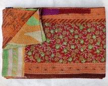 One Of Kind Vintage Kantha Quilt Reversible Kantha Throw