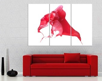3 Panel canvas paint splash, Split Abstract canvas Print. Red paint  picture for modern home/office wall decor & interior design.