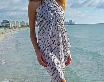 Pareos White Sarong / Beach Sarong Wrap / Bathing Suit Cover Ups  Sarong / Pareo Wrap / Pareo Beach Cover Up / Sarong Cover Up  Gift for Her