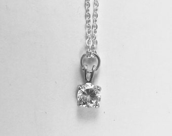 Rhinestone Necklace, Zircon, Vintage Faceted Solitaire Gem, Adjustable Silver Chain, Silver Tone Necklace, Bridal Necklace, Gift for Bride