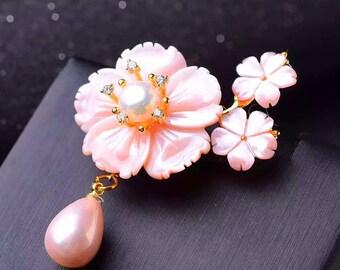 Brooch, Pin, Pearl Pin, Pearl brooch, Gemstone Brooch, Gemstone Pin, Gemstone Jewelry, Pearl Jewelry, Pendant & Brooch with natural Pearls