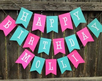 Happy birthday banner. Happy birthday banner personalized. Girl birthday banner. Pink and teal birthday banner.