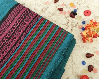1 yard of Teal Blue South Cotton Fabric, Handwoven Fabric, Indian Cotton Fabric, Indian Fabric