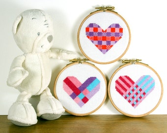 Modern heart cross stitch geometric designs - easy to stitch love hearts for beginners or intermediates PDF patterns - Instant download