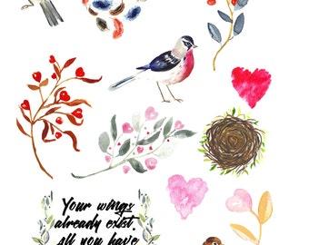 planner stickers - watercolor bird stickers - nature stickers - happy planner - erin condren life planner - eclp - nature - eco - feathers