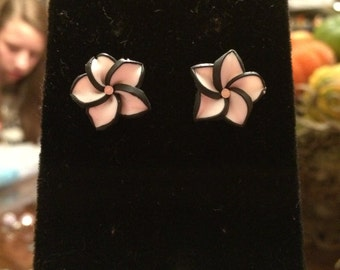 White and Black Flower Studs