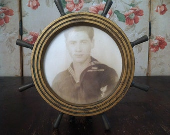 Vintage 1940's US Navy Sailor Framed Photo