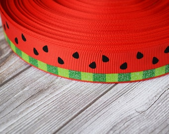 "Watermelon ribbon - 7/8"" glitter ribbon - Red and green - Summer time ribbon - 3 or 5 yards - Food ribbon - Fruit ribbon - DIY supplies"