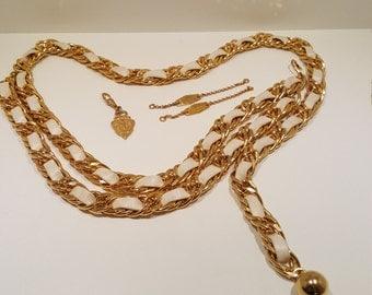 Genuine Designer Gucci Gold Tone Cream Leather Chain Belt and Gucci Hardware