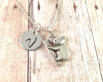 Personalized Koala Bear necklace, Aussie charm necklace, Best Friend jewelry , Gift for her, Traveling to Australia