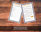 High School Graduation Libs Instant Download Printable Orange and Blue Polka Dots