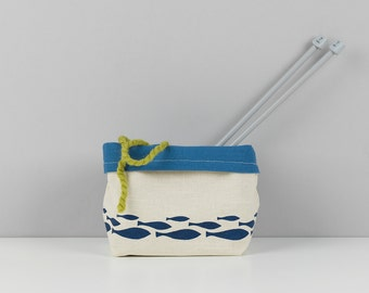 1 Hand printed bathroom fabric storage basket.
