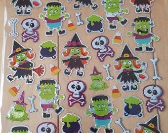 Halloween Green Witch and Frankenstein Monster Planner Sticker Sheet