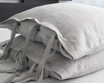 Set of two linen pillowcases | 100% linen softened light grey linen pillow covers | euro shams | handmade flax pillowcases | linen bedding