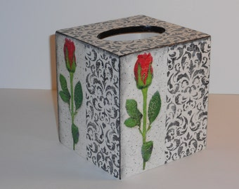 Tissue Box Cover, Decoupage Wooden Tissue Box  Holder,