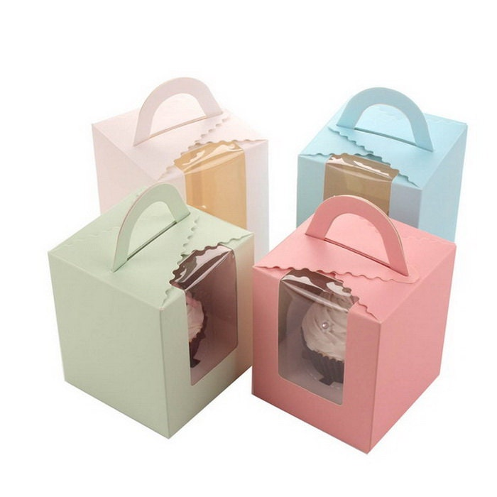 Blue Pink Green Cupcake Favor Boxes Single Clear Cupcake