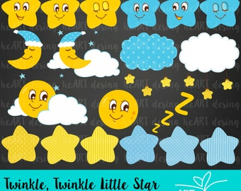 Twinkle, Twinkle Little Star Digital Clipart/ Digital Clip Art for Commercial and Personal Use / INSTANT DOWNLOAD