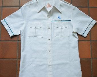 Vintage 70s Hawaiian Iolani Executive Hawaii Polyester Barkcloth Shirt
