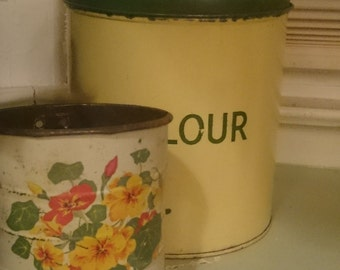 Vintage Flour Tin and Enameled Sifter Set