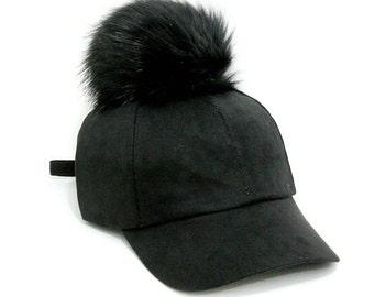 Black Pom Pom Suede Baseball Cap