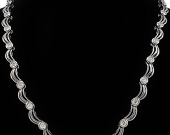 18k Diamond Riviera Necklace Estate White Gold 1.70 ctw