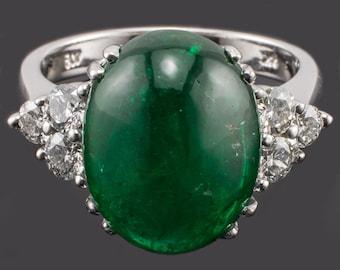 14K Diamond Emerald Ring White Gold Cabochon Emerald