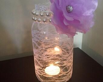 Elegant Lace wrapped mason jar