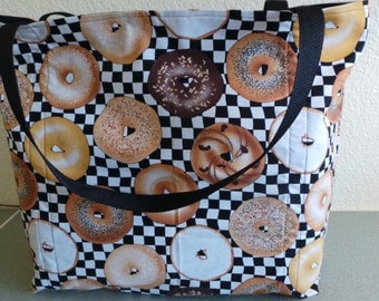 Plain Bagel, Cream Cheese Bagle, Onion Bagel, Reusable Grocery / Shopping Bag / Tote