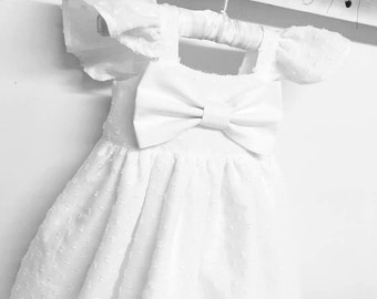Swiss dot flutter sleeve newborn baptism dress,Girls dedication gown,Flower girls white dresses, baby girls christening gown, baby girl gown