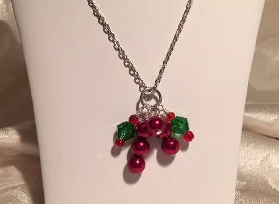 Holly and Berries Cluster Pendant Necklace. Christmas Holiday Green and Red. Festive and Fun.