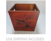 Wooden Sewing Storage Tote Box With Pictures of Sewing Notions