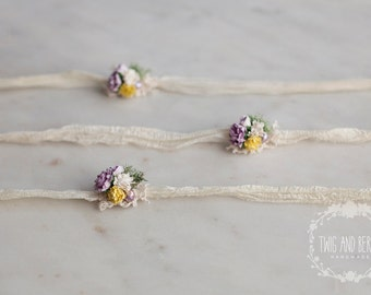 Yellow and Purple Silk Tieback. Baby Headband, Photography Prop, Freshwater Pearl, Lace Photo Prop, Cream, Lavender, Lemon,