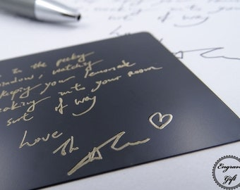 Wallet Card Custom Etched Steel Metal Card - Personalized Wallet Insert - We can replicate your actual handwriting or drawing replica