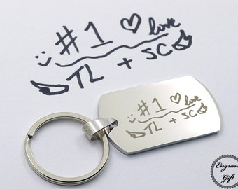 Custom Made Actual Handwriting, Real Signature, Drawing Replica Engrave, Memorial Scrip Gift Stainless Steel Tag Charm KeyChain Medium
