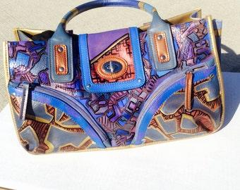 Shoulder Bag Hand Painted Rusty Blue Purse