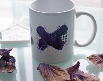 Minimalist Mug With Purple Crosses