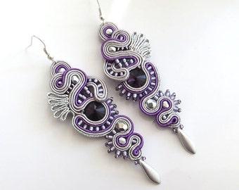 Purple grey earrings soutache Purple earrings long earrings long chandeliers earrings grey earrings very long earrings