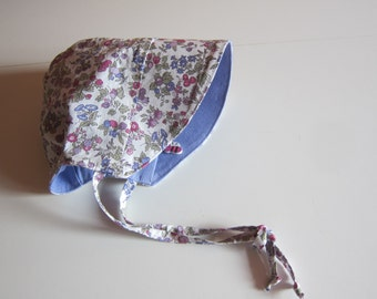 Baby Millefleurs lavender sun bonnet,  Bee on the Bonnet , Child's Sunhat Sz 0-3 Mo