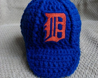 Detroit Tigers Inspired Crochet Baby Hat Baseball Newsboy Cap Hat with Embroidered Logo- Newborn, 0-3 Months, 3-6 Months, 6-12 Months