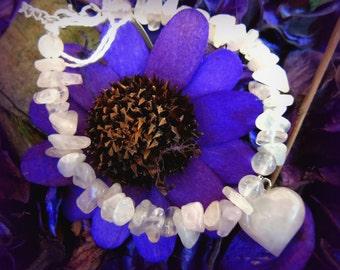 Full Rose Quartz Heart Pendant Bracelet