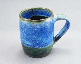 Pottery Coffee Mug Rutile Blue - Green To Black CHUNGTB65