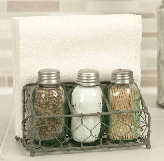 Chicken Wire Mason Jar Salt and Pepper Shakers with Napkin Holder ...