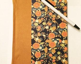 Floral Japanese Paper Blank Hardcover Notebook Sketchbook Journal - Handmade Hand bound Book