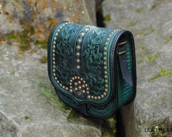 Leather bag Genuine leather purse Crossbody bag Green leather bag Tooled leather Leather messenger bag Women's leather bag Ethnic style