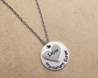 Missionary Sister hand stamped necklace / Pewter heart / personalized mission trip / youth group / custom missionary jewelry / missions