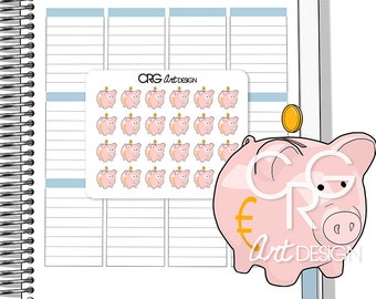 EURO Piggy Bank Stickers (EUR) | Planner Erin Condren Plum Planner Filofax Sticker