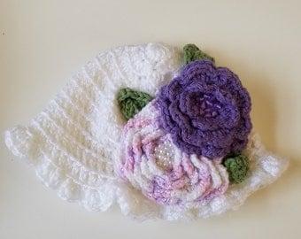 Baby Crochet Beaded Flower Hat