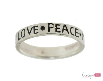 Love Peace Mind Body Spirit Sterling Silver Ring - Size 6.5