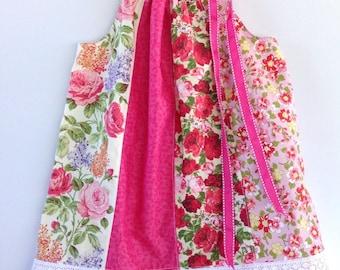 Girl's summer dress - multi panelled / Vintage roses dress / pillowcase dress / party dress / size 3